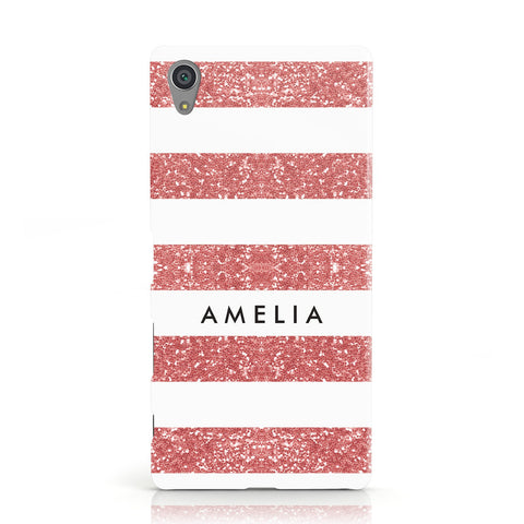 Personalised Glitter Effect Name Initials Sony Xperia Case