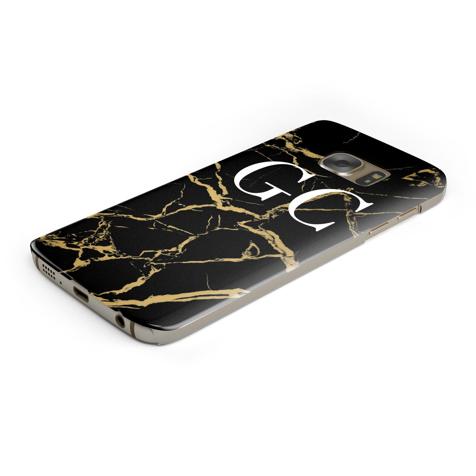 Personalised Gold Black Marble Monogram Samsung Galaxy Case Bottom Cutout