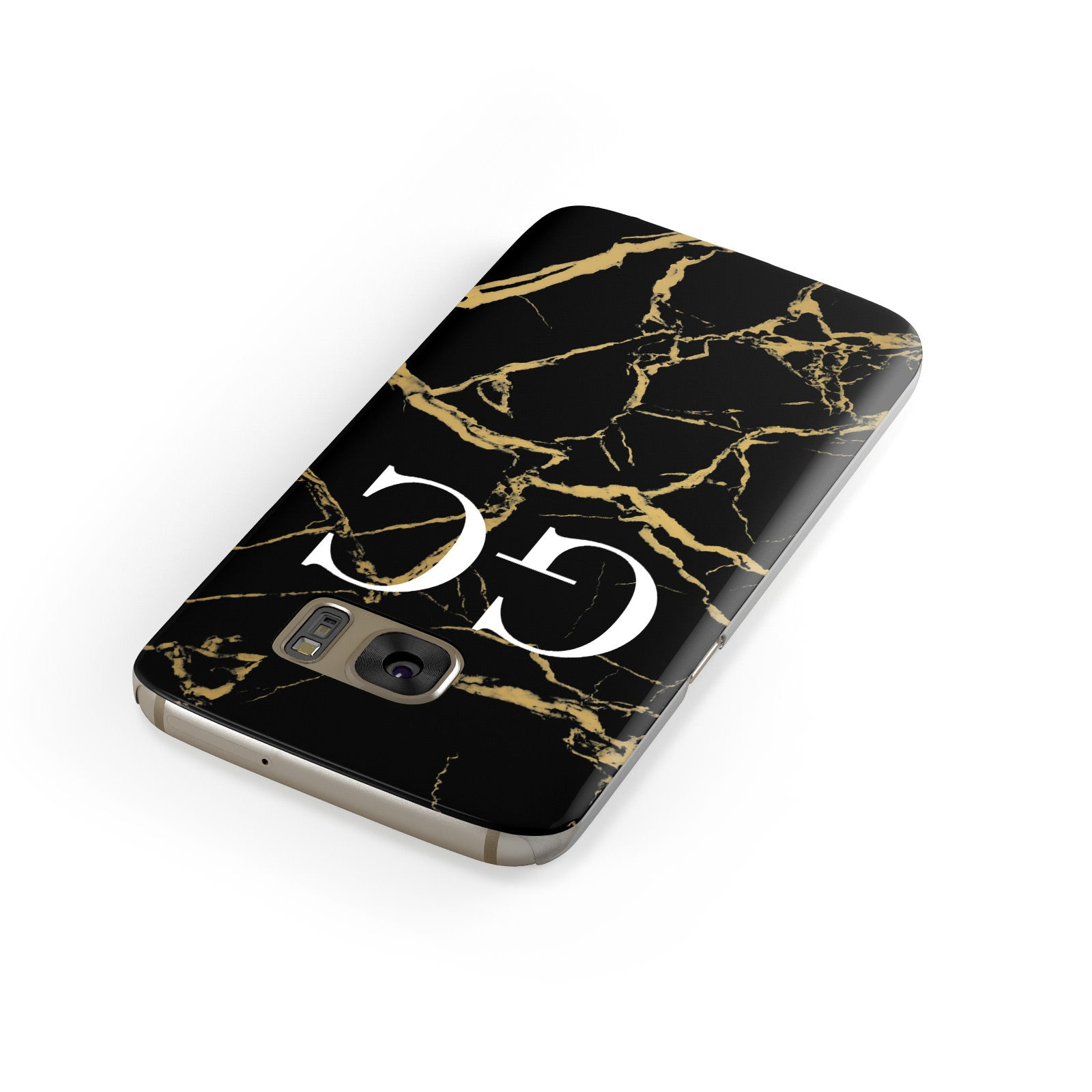 Personalised Gold Black Marble Monogram Samsung Galaxy Case Front Close Up