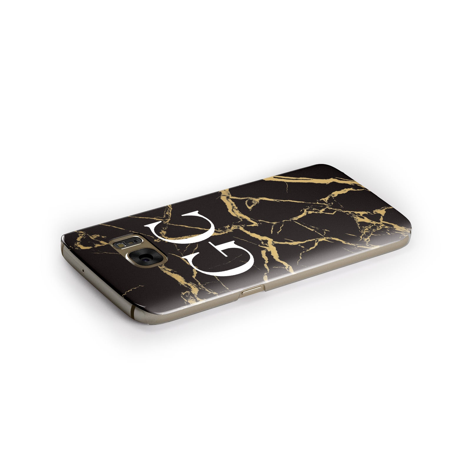 Personalised Gold Black Marble Monogram Samsung Galaxy Case Side Close Up