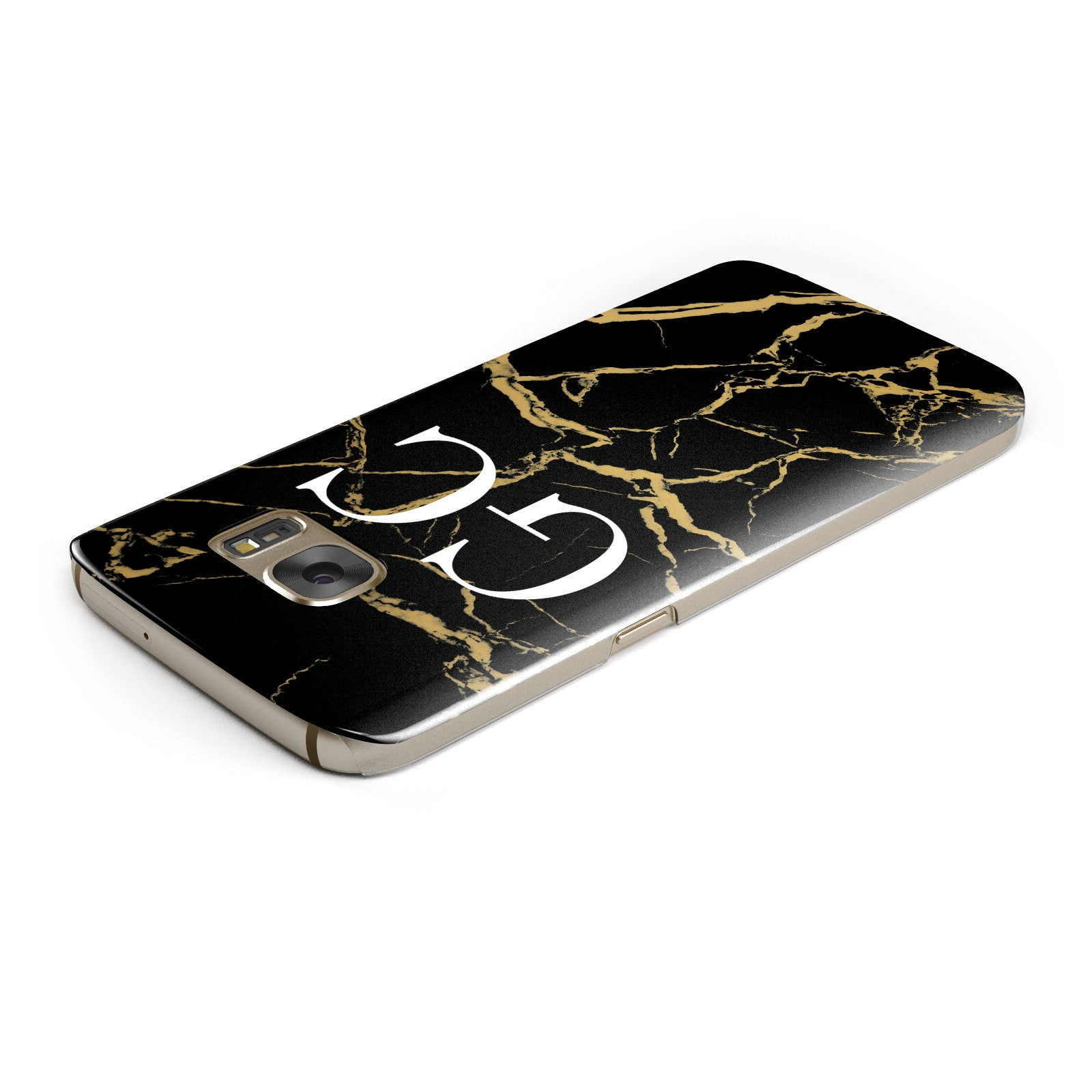 Personalised Gold Black Marble Monogram Samsung Galaxy Case Top Cutout