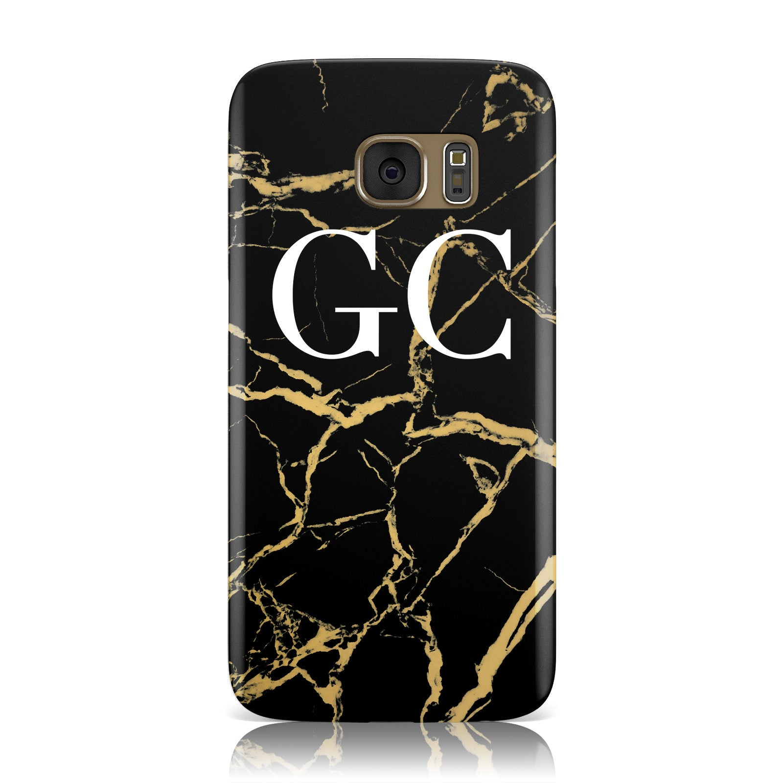 Personalised Gold Black Marble Monogram Samsung Galaxy Case