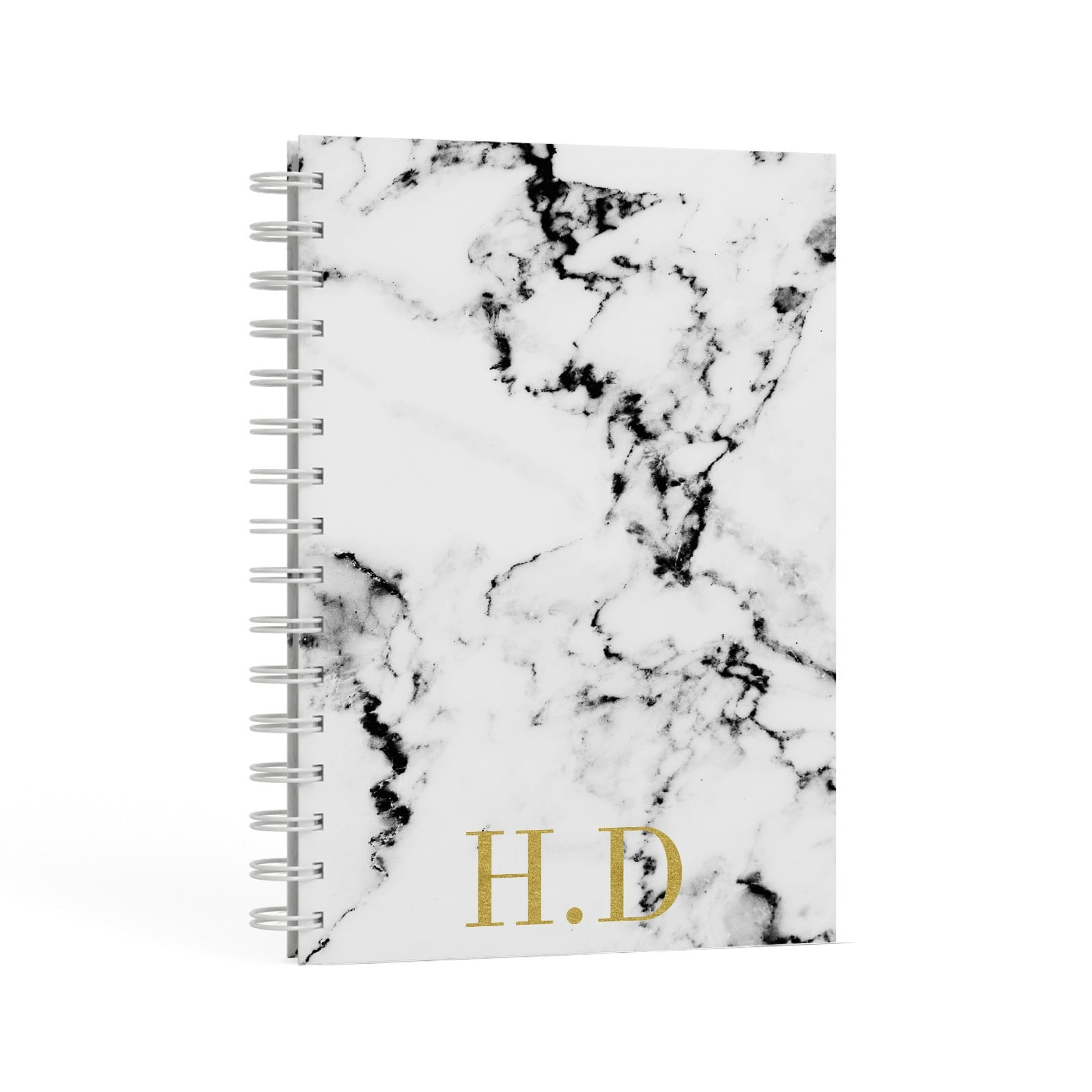 Gold Initials Marble Effect Personalised A5 Hardcover Notebook Second Side View