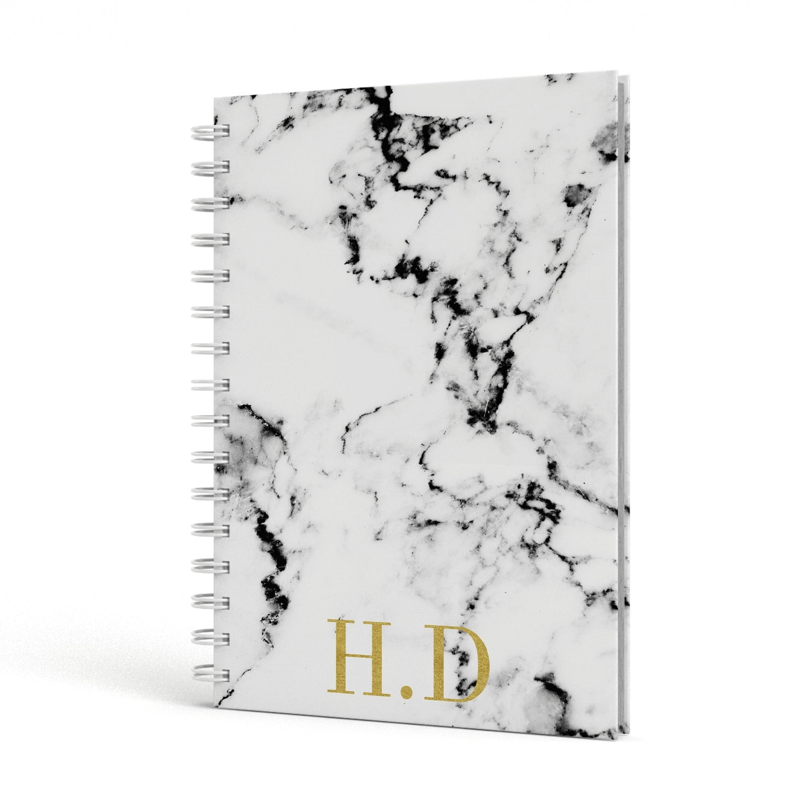Gold Initials Marble Effect Personalised A5 Hardcover Notebook Side View