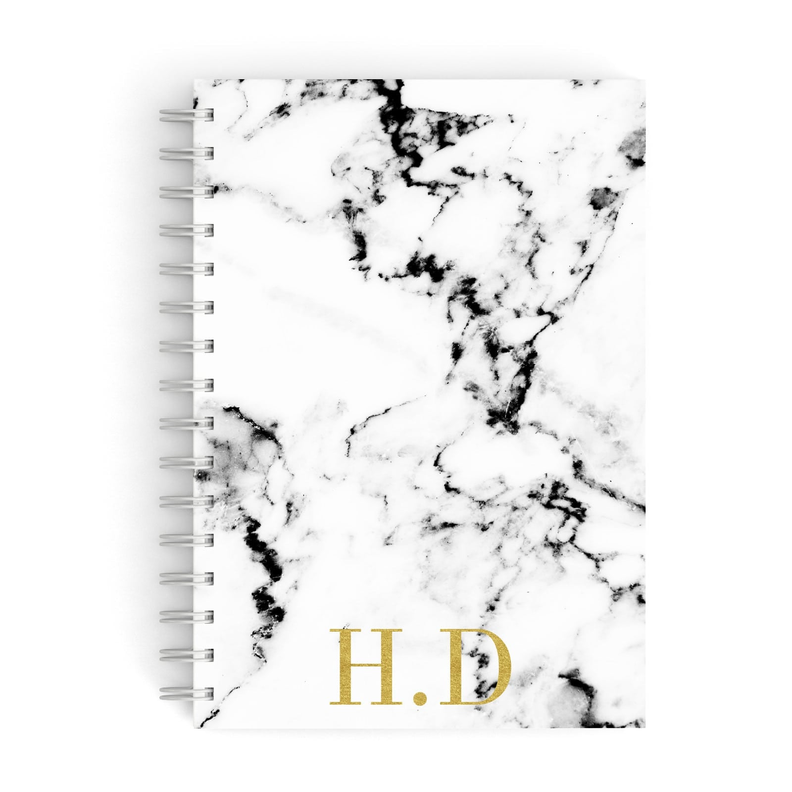 Gold Initials Marble Effect Personalised A5 Hardcover Notebook