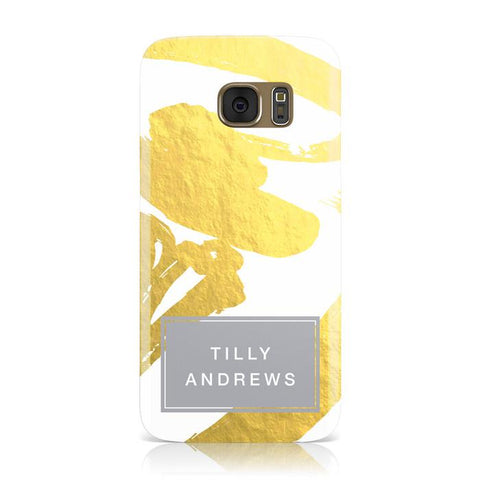 Personalised Gold Leaf White With Name Samsung Galaxy Case