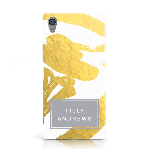 Personalised Gold Leaf White With Name Sony Xperia Case
