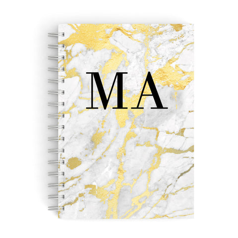 Gold Marble Custom Initials A5 Hardcover Notebook