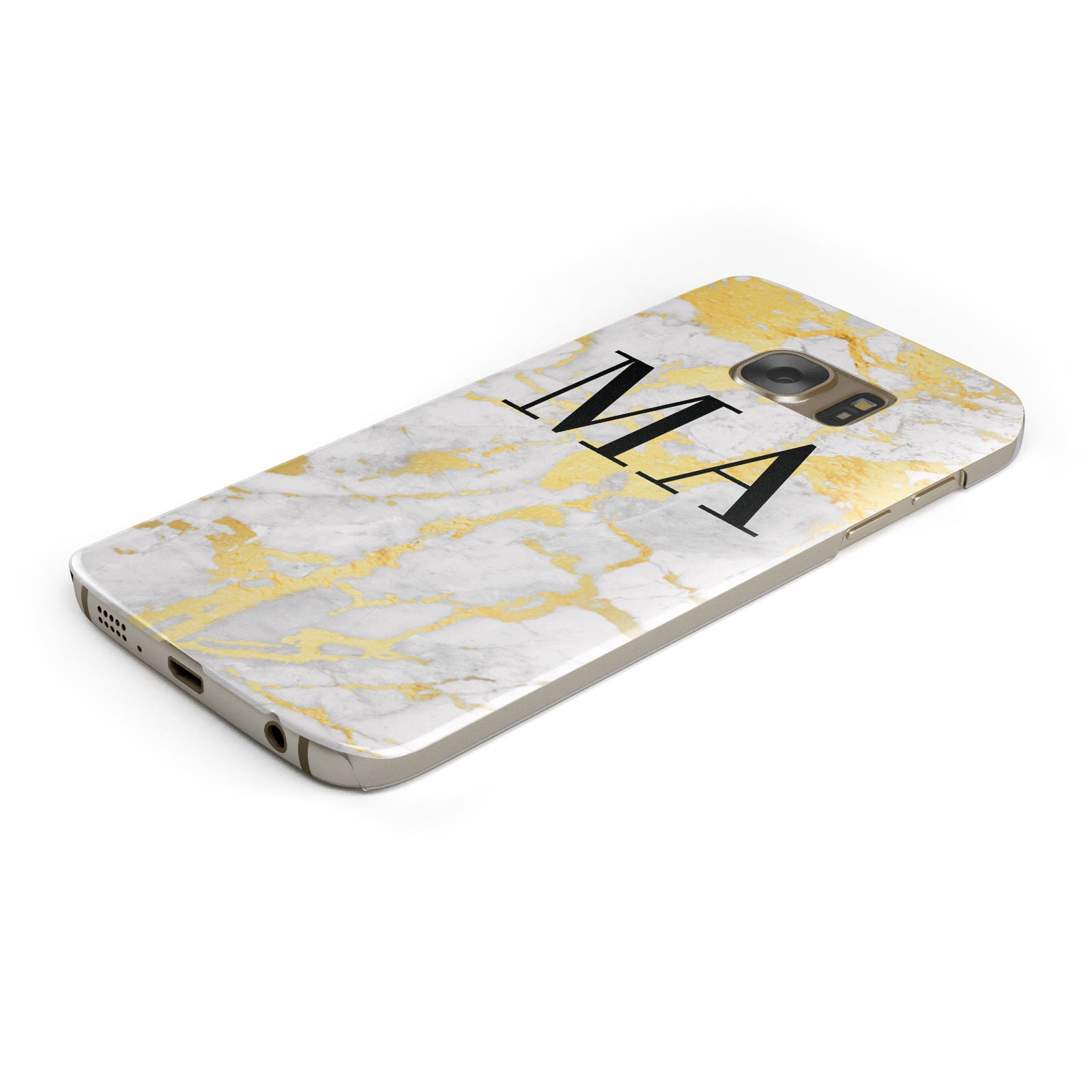 Gold Marble Custom Initials Samsung Galaxy Case Bottom Cutout