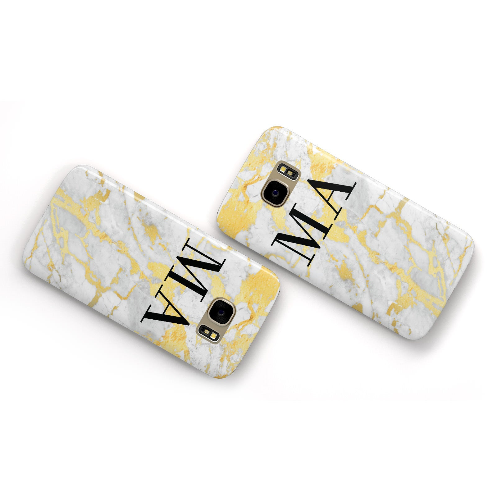 Gold Marble Custom Initials Samsung Galaxy Case Flat Overview