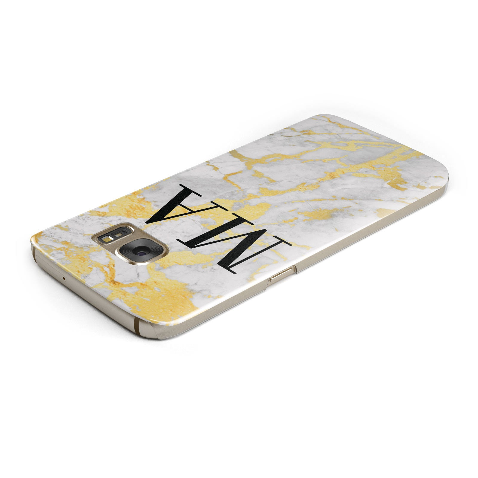 Gold Marble Custom Initials Samsung Galaxy Case Top Cutout