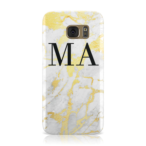 Gold Marble Custom Initials Samsung Galaxy Case