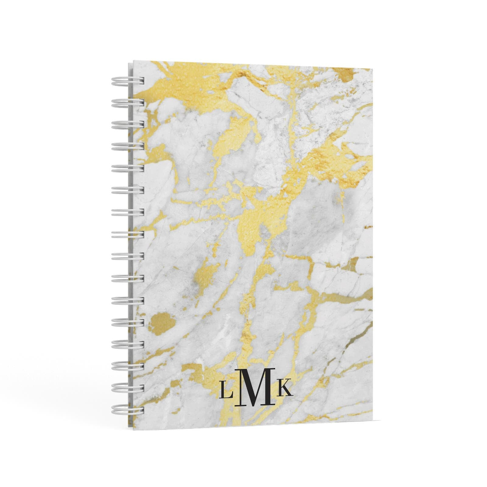 Gold Marble Initials Customised A5 Hardcover Notebook Second Side View