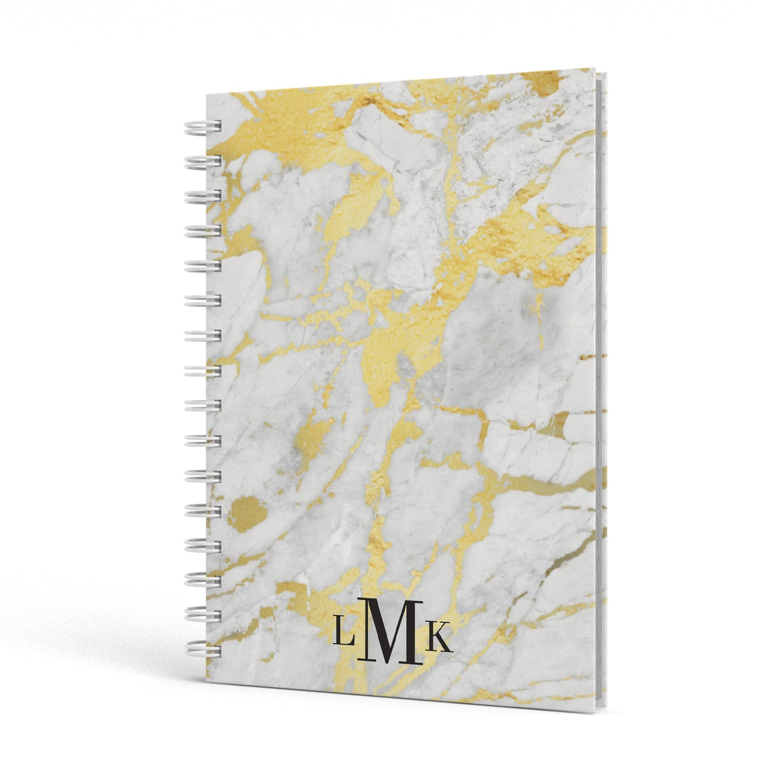 Gold Marble Initials Customised A5 Hardcover Notebook Side View
