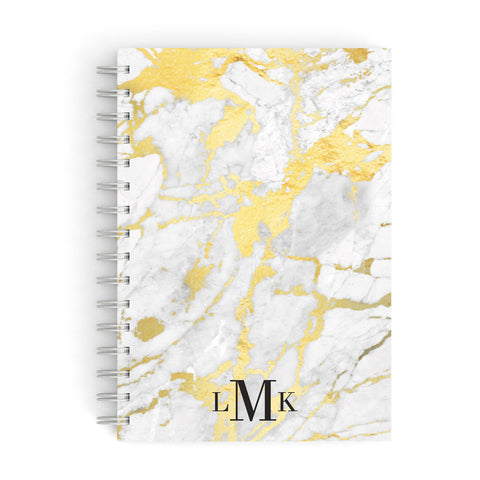 Gold Marble Initials Customised A5 Hardcover Notebook