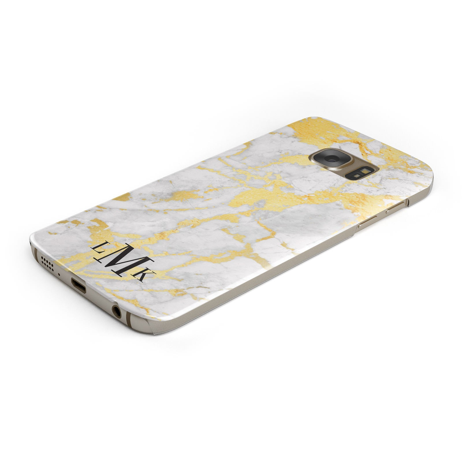 Gold Marble Initials Customised Samsung Galaxy Case Bottom Cutout