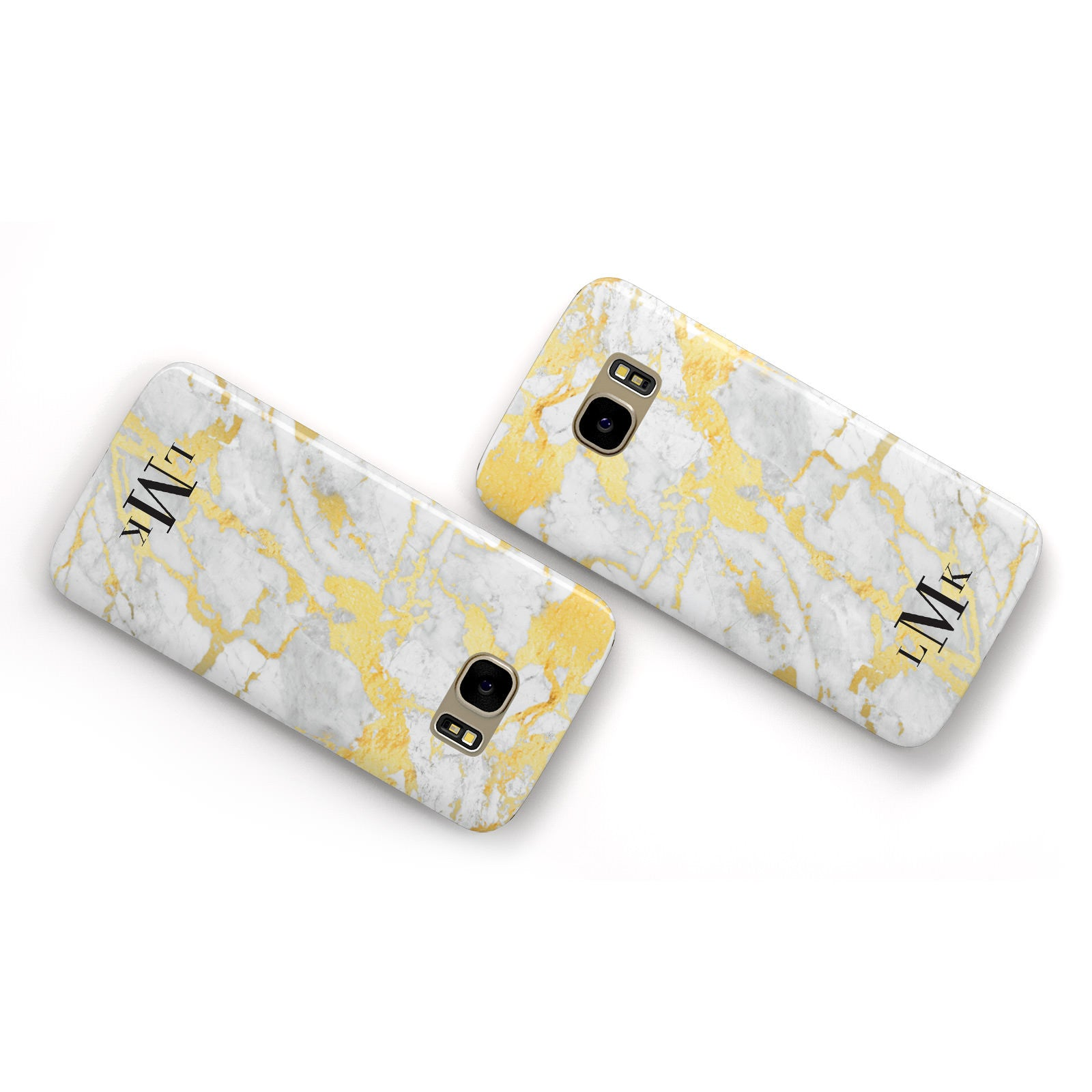 Gold Marble Initials Customised Samsung Galaxy Case Flat Overview