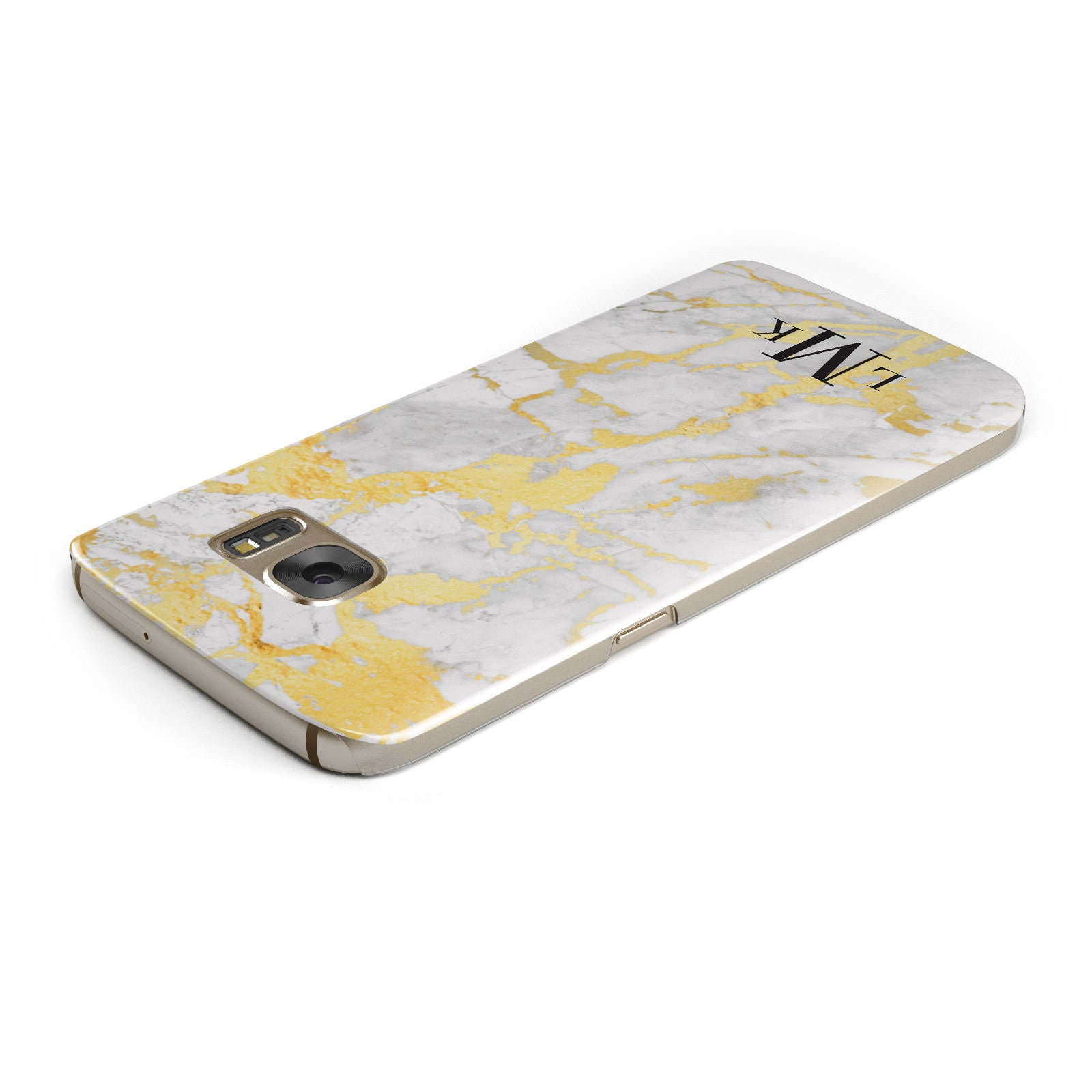 Gold Marble Initials Customised Samsung Galaxy Case Top Cutout