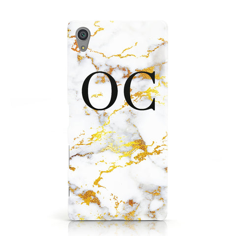 Personalised Gold Marble Initials Monogram Sony Xperia Case