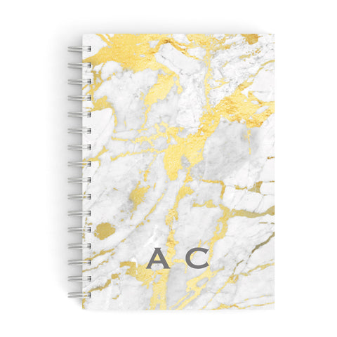 Gold Marble Initials Personalised A5 Hardcover Notebook