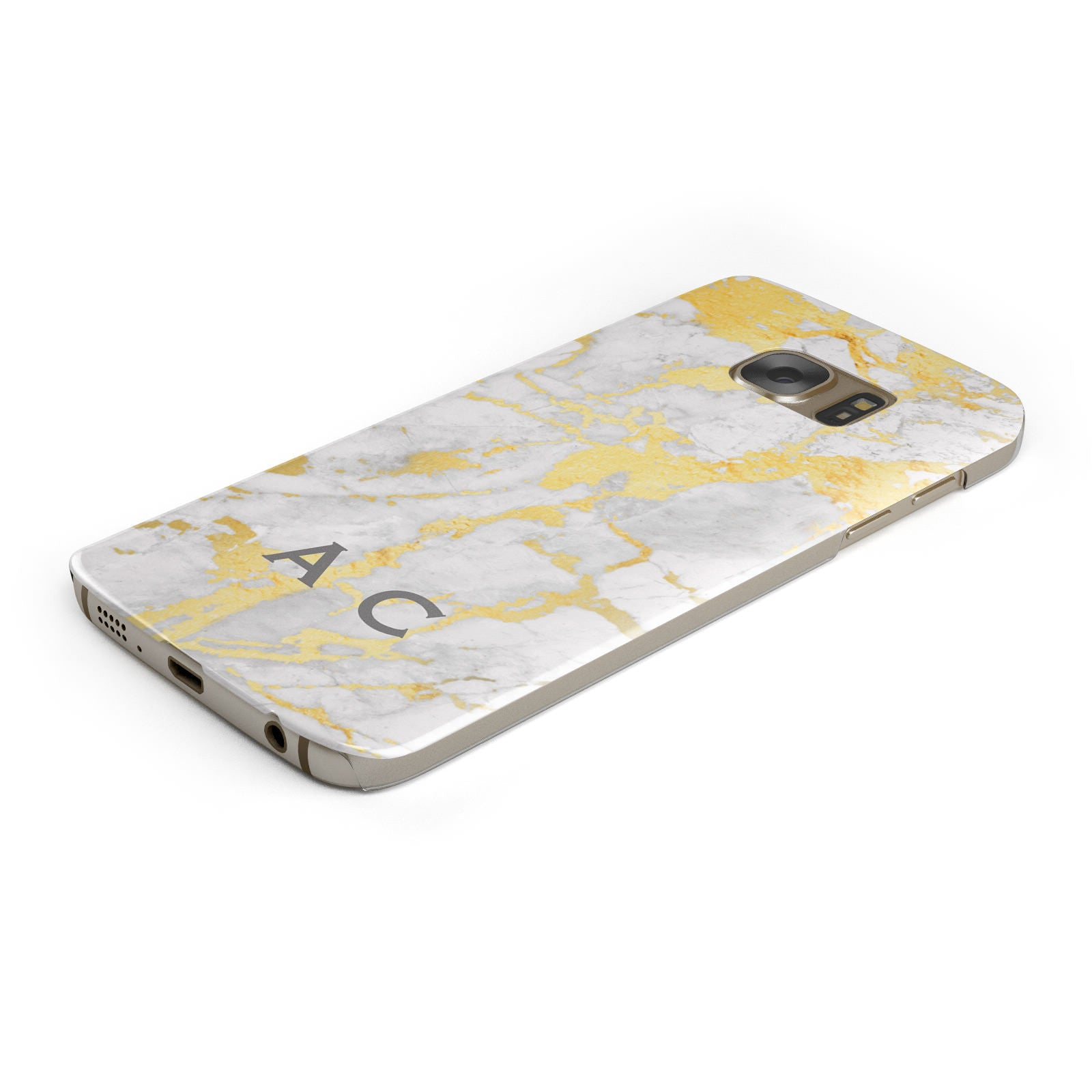 Gold Marble Initials Personalised Samsung Galaxy Case Bottom Cutout