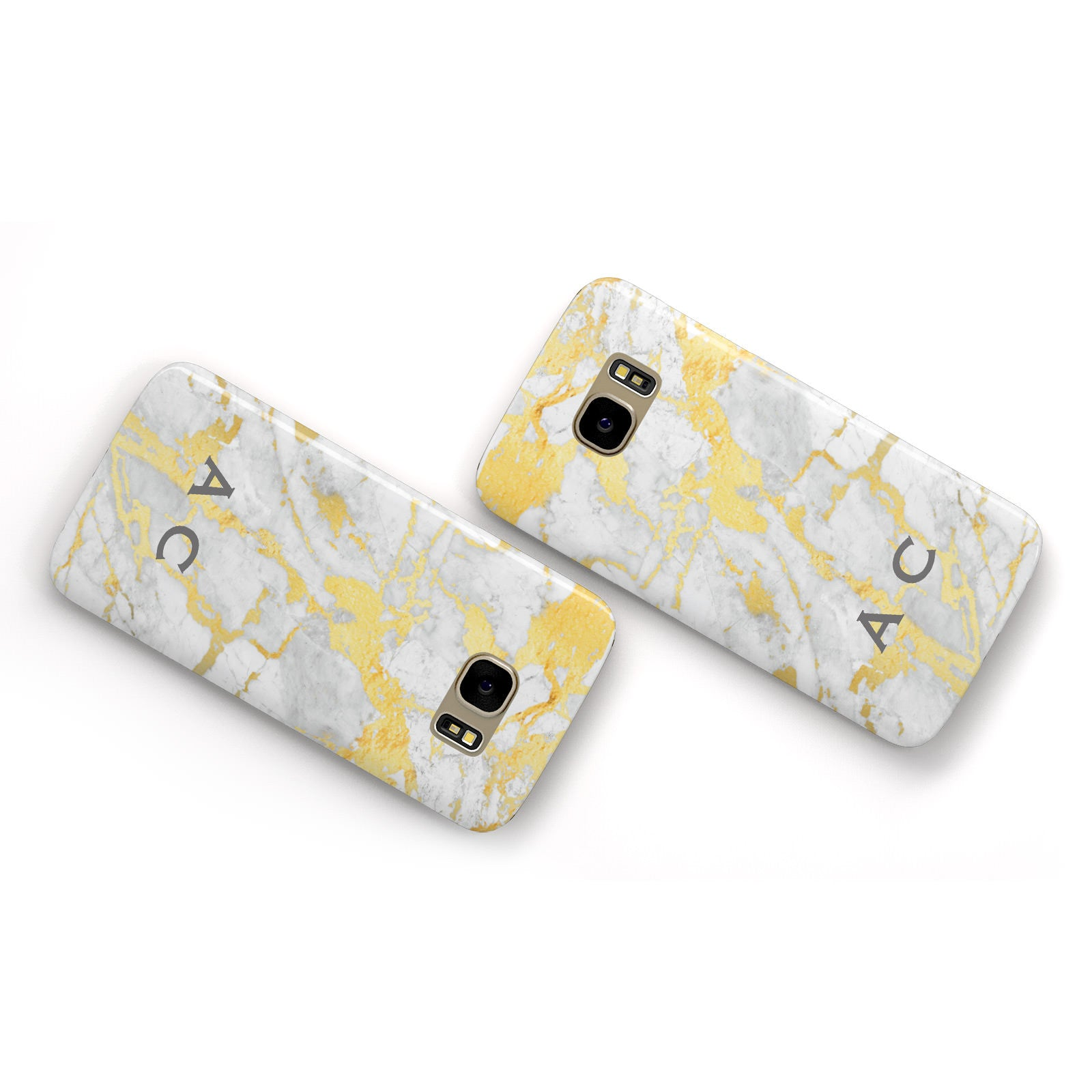 Gold Marble Initials Personalised Samsung Galaxy Case Flat Overview
