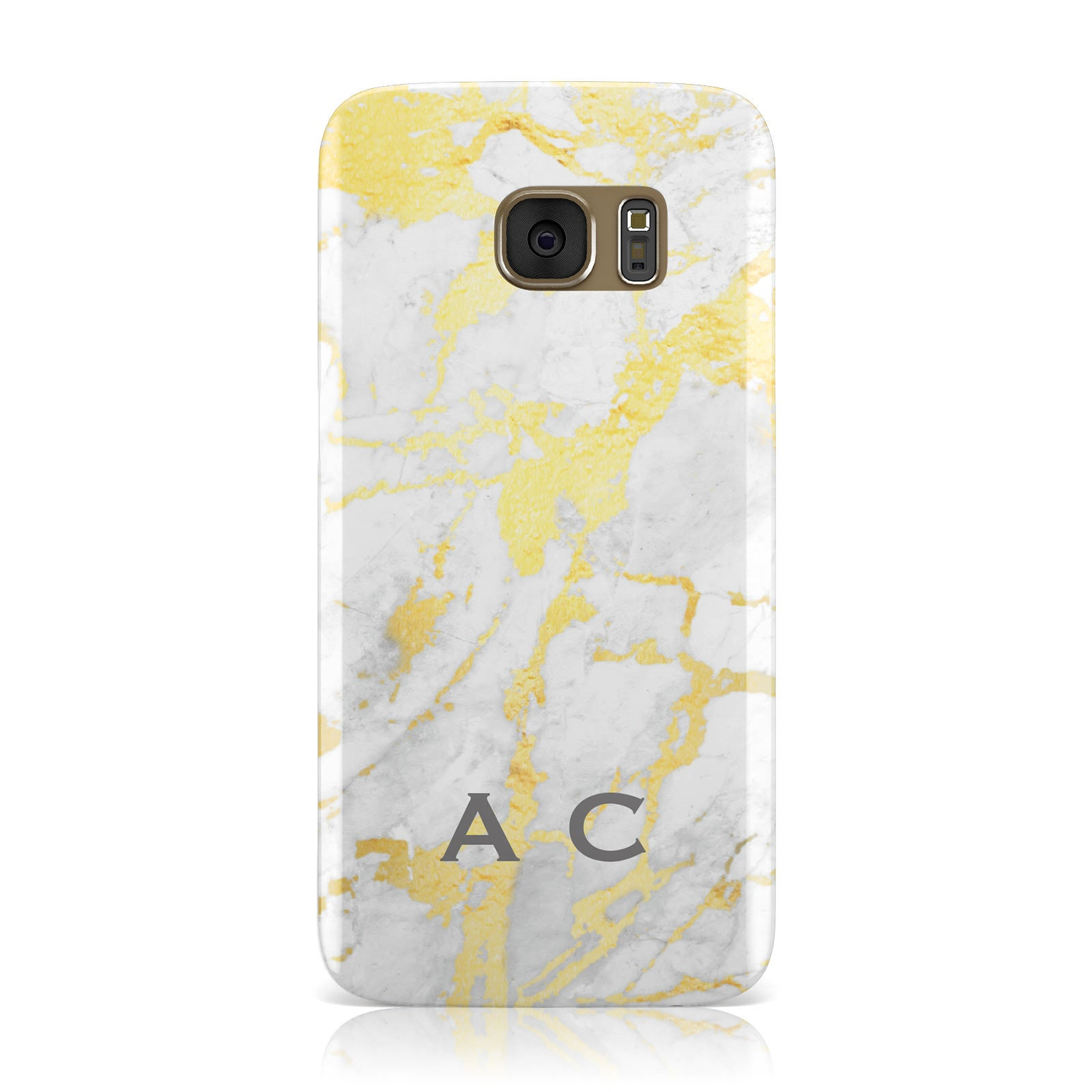 Gold Marble Initials Personalised Samsung Galaxy Case