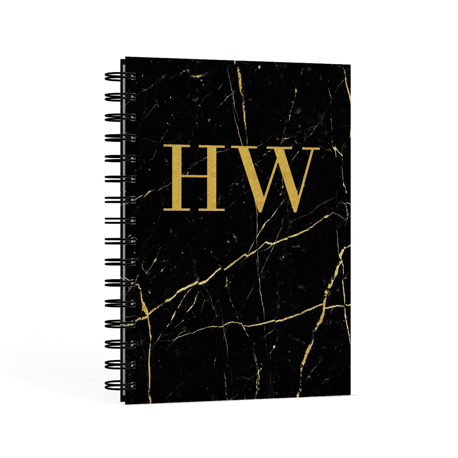 Gold Marble Monogram Personalised A5 Hardcover Notebook Second Side View