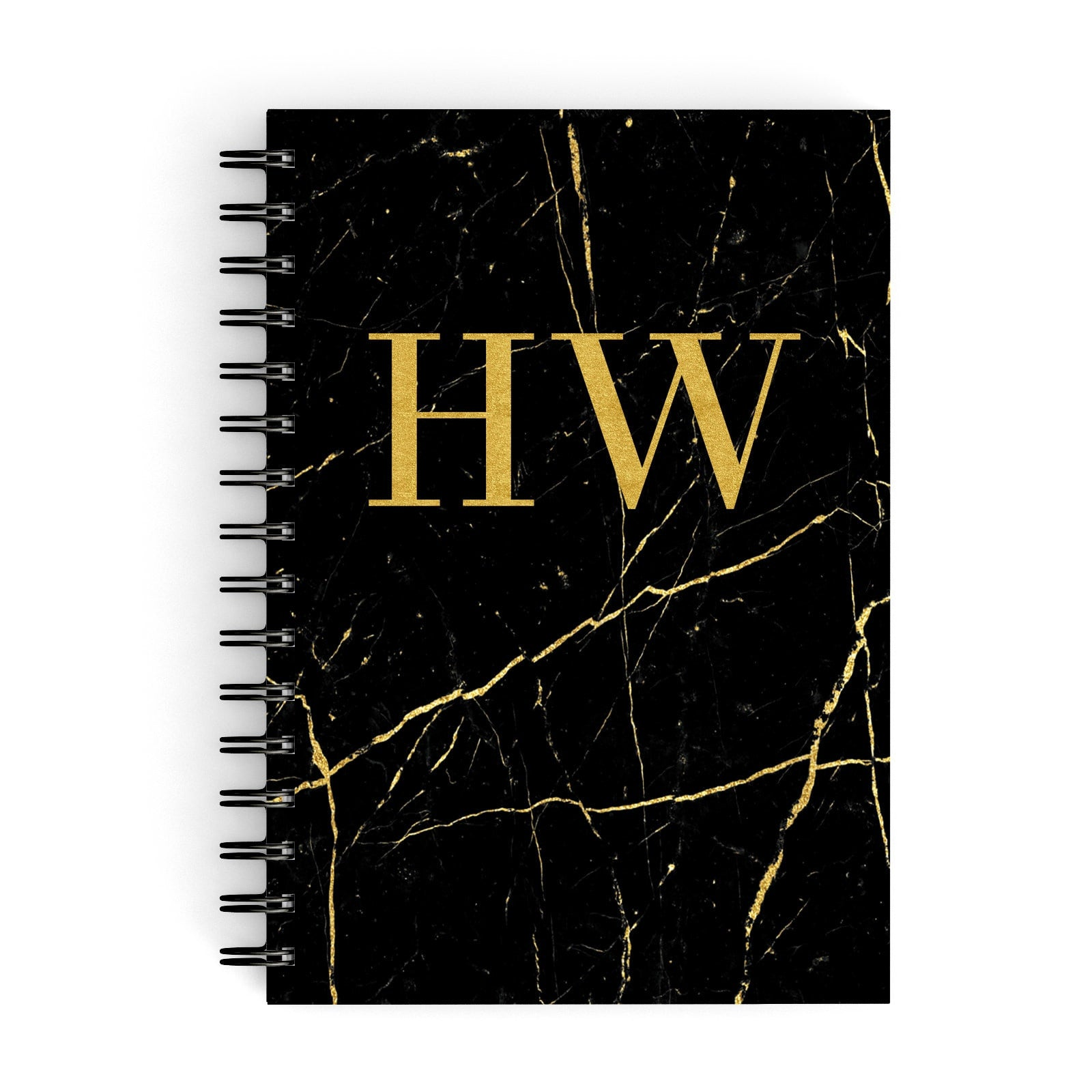 Gold Marble Monogram Personalised A5 Hardcover Notebook