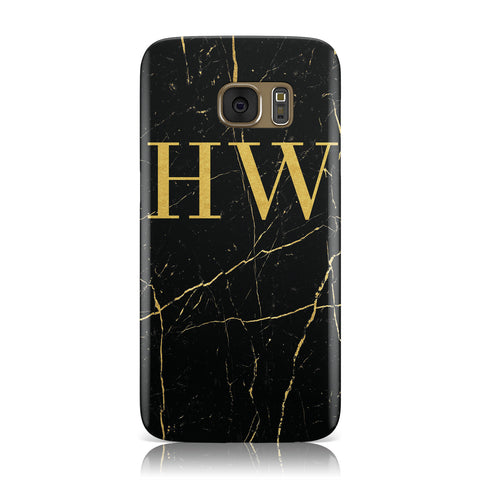 Gold Marble Monogram Personalised Samsung Galaxy Case