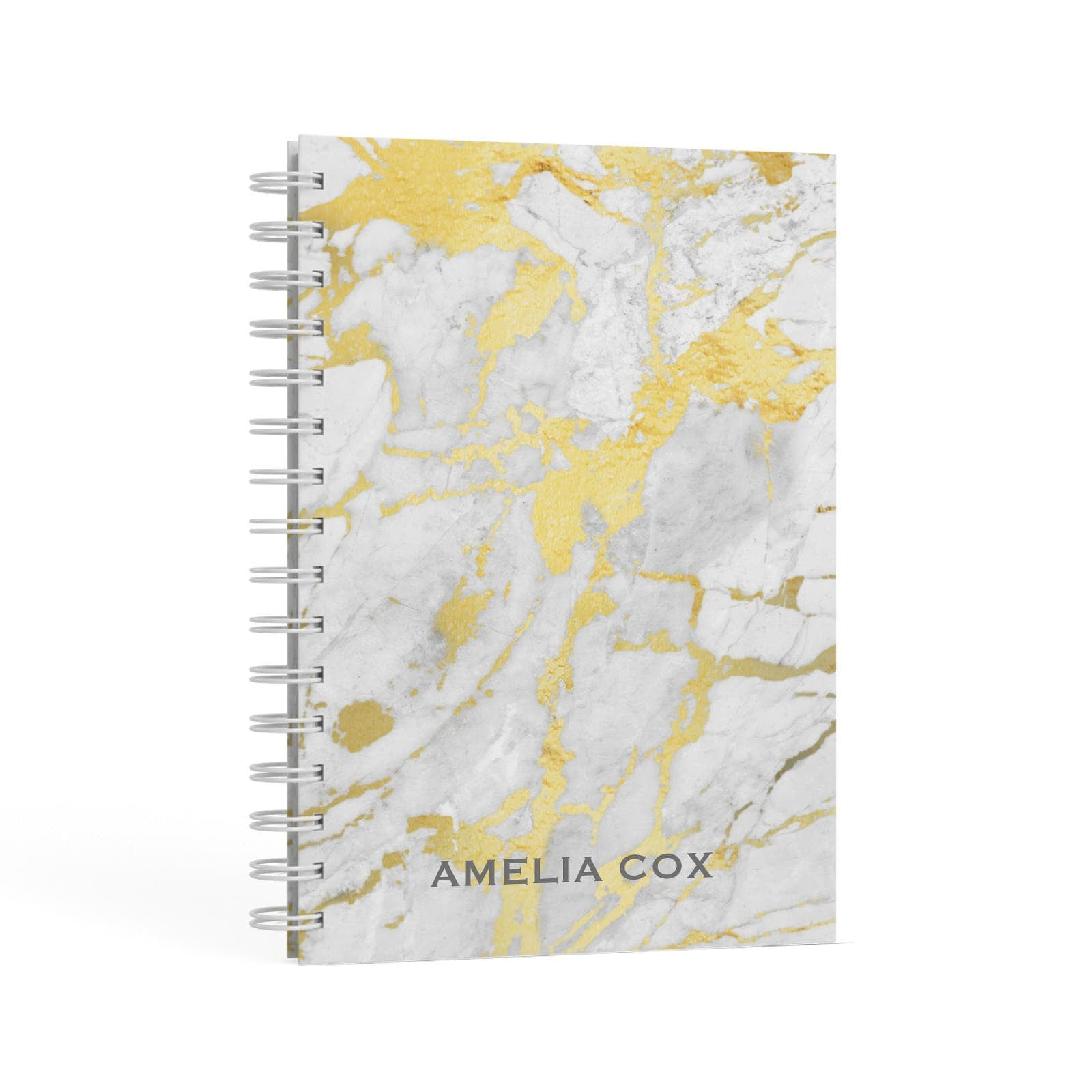 Gold Marble Name Personalised A5 Hardcover Notebook Second Side View