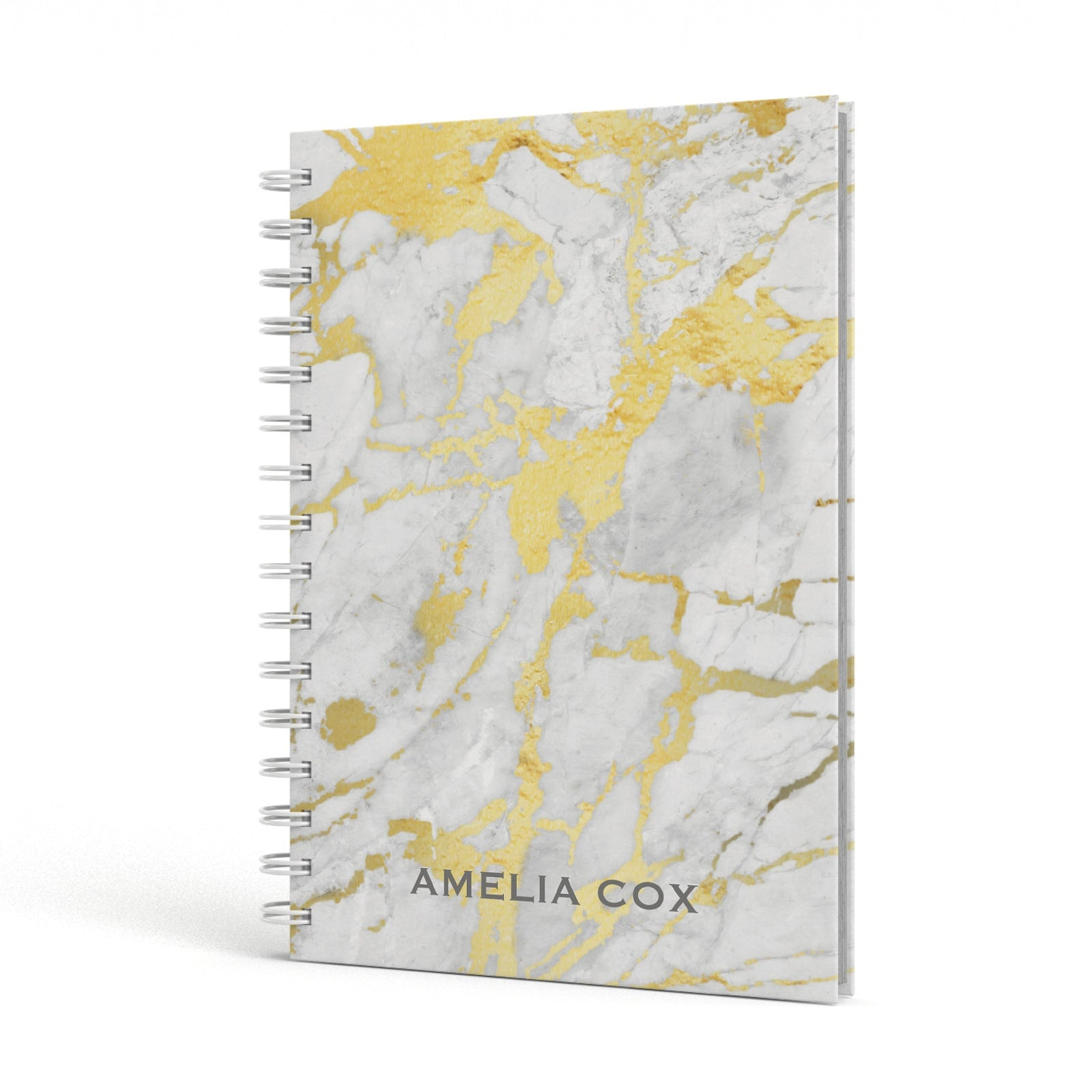 Gold Marble Name Personalised A5 Hardcover Notebook Side View