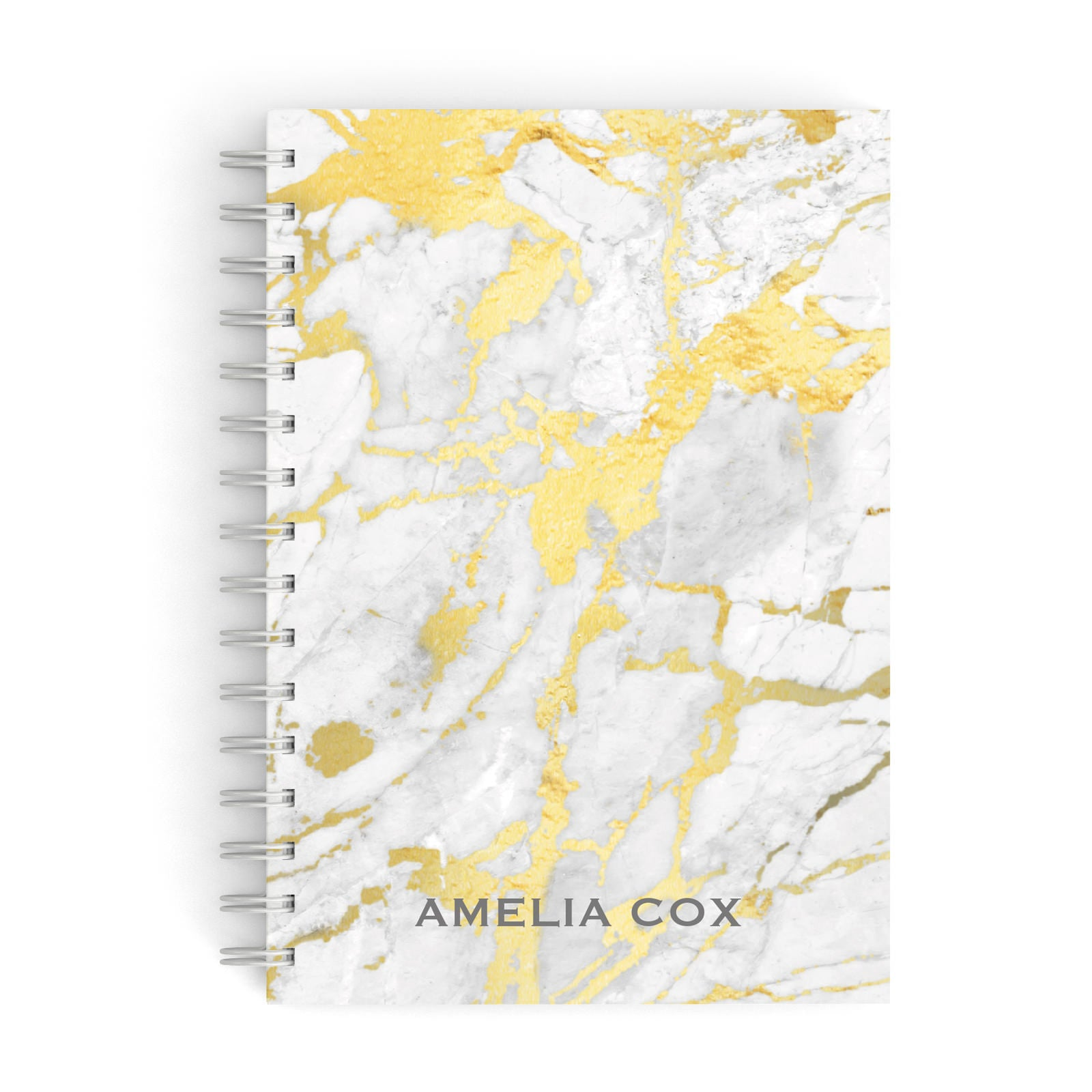 Gold Marble Name Personalised A5 Hardcover Notebook