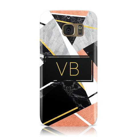 Personalised Gold Rose Monogram Samsung Galaxy Case