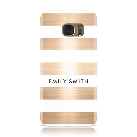 Personalised Gold Striped Name Initials Samsung Galaxy Case