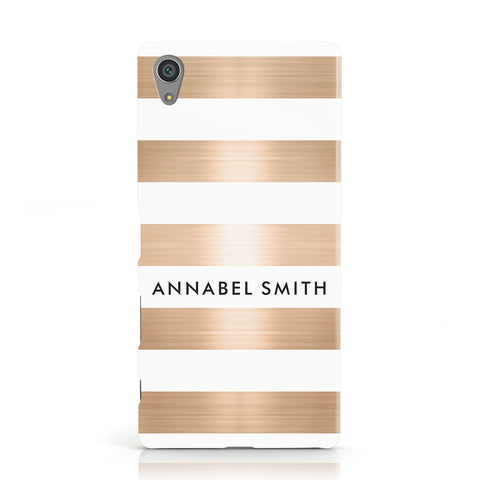 Personalised Gold Striped Name Initials Sony Xperia Case