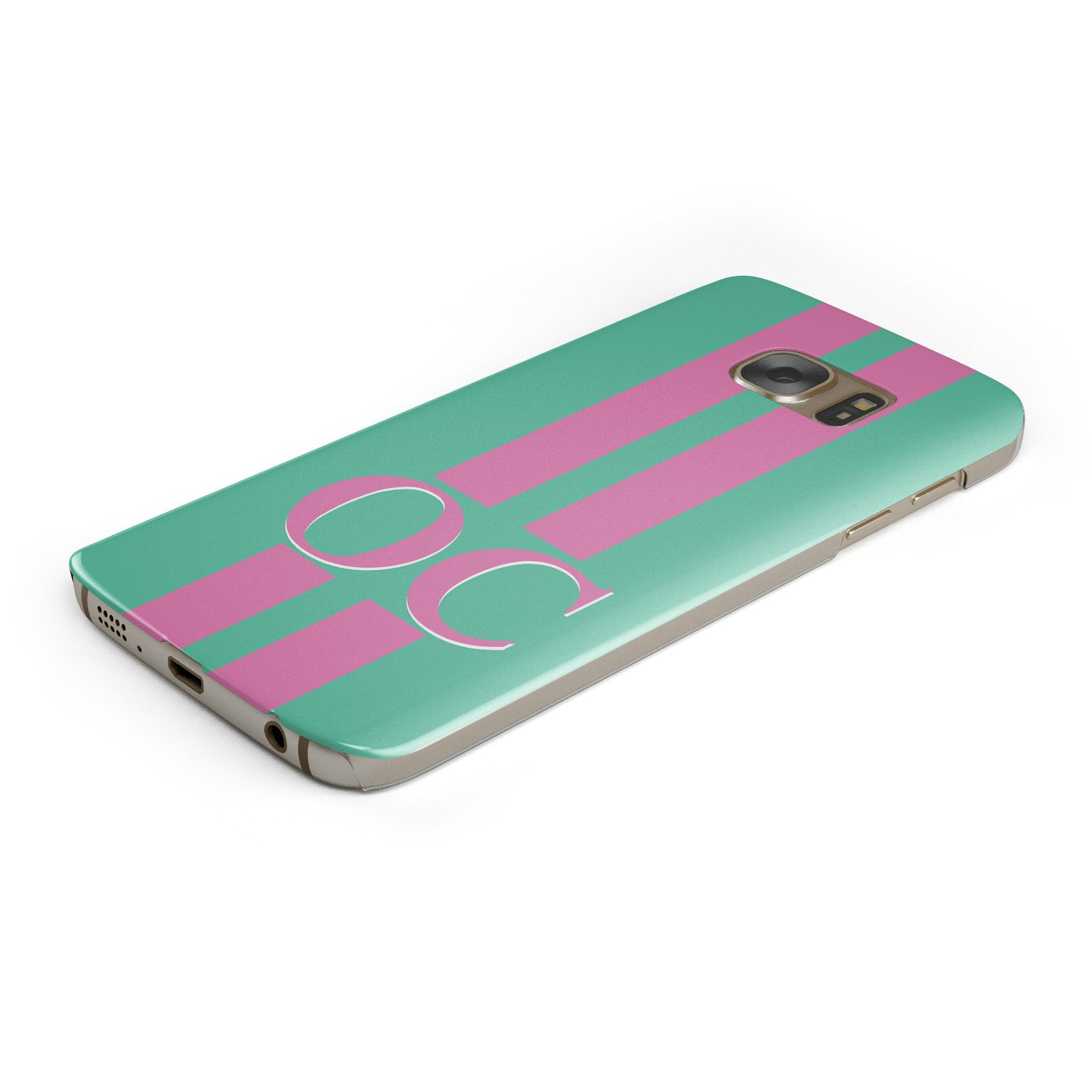 Green Personalised Initials Samsung Galaxy Case Bottom Cutout