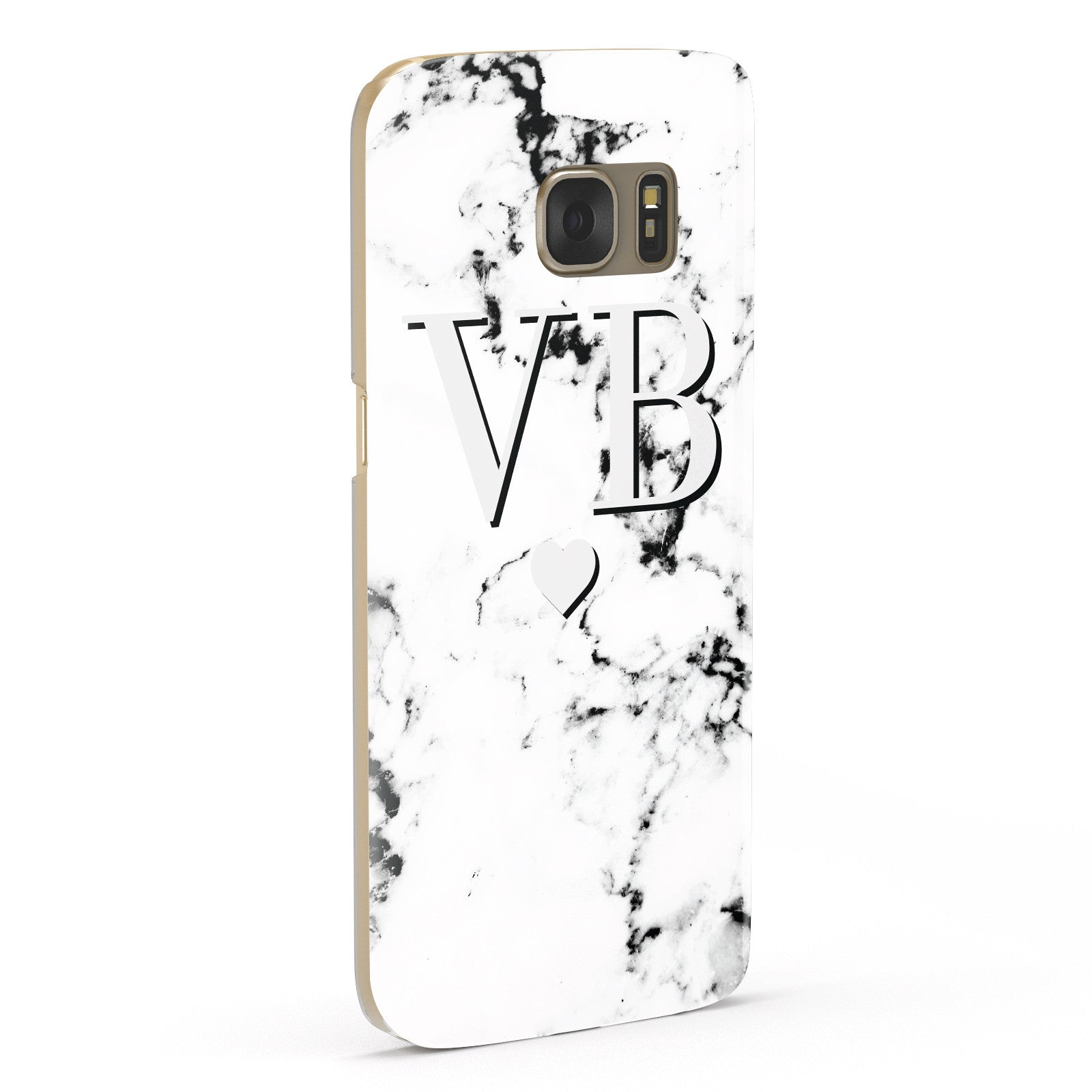 Personalised Grey Initialed Marble Heart Samsung Galaxy Case Fourty Five Degrees