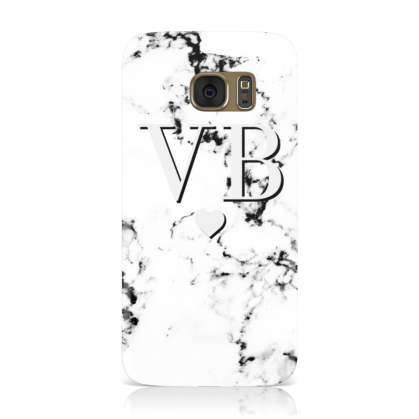 Personalised Grey Initialed Marble Heart Samsung Galaxy Case