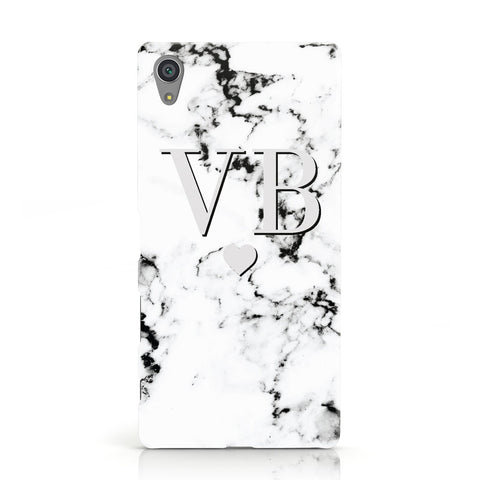 Personalised Grey Initialed Marble Heart Sony Xperia Case