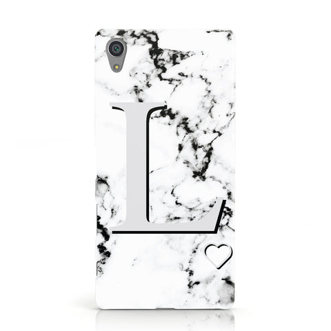 Personalised Grey Initials Heart Marble Sony Xperia Case