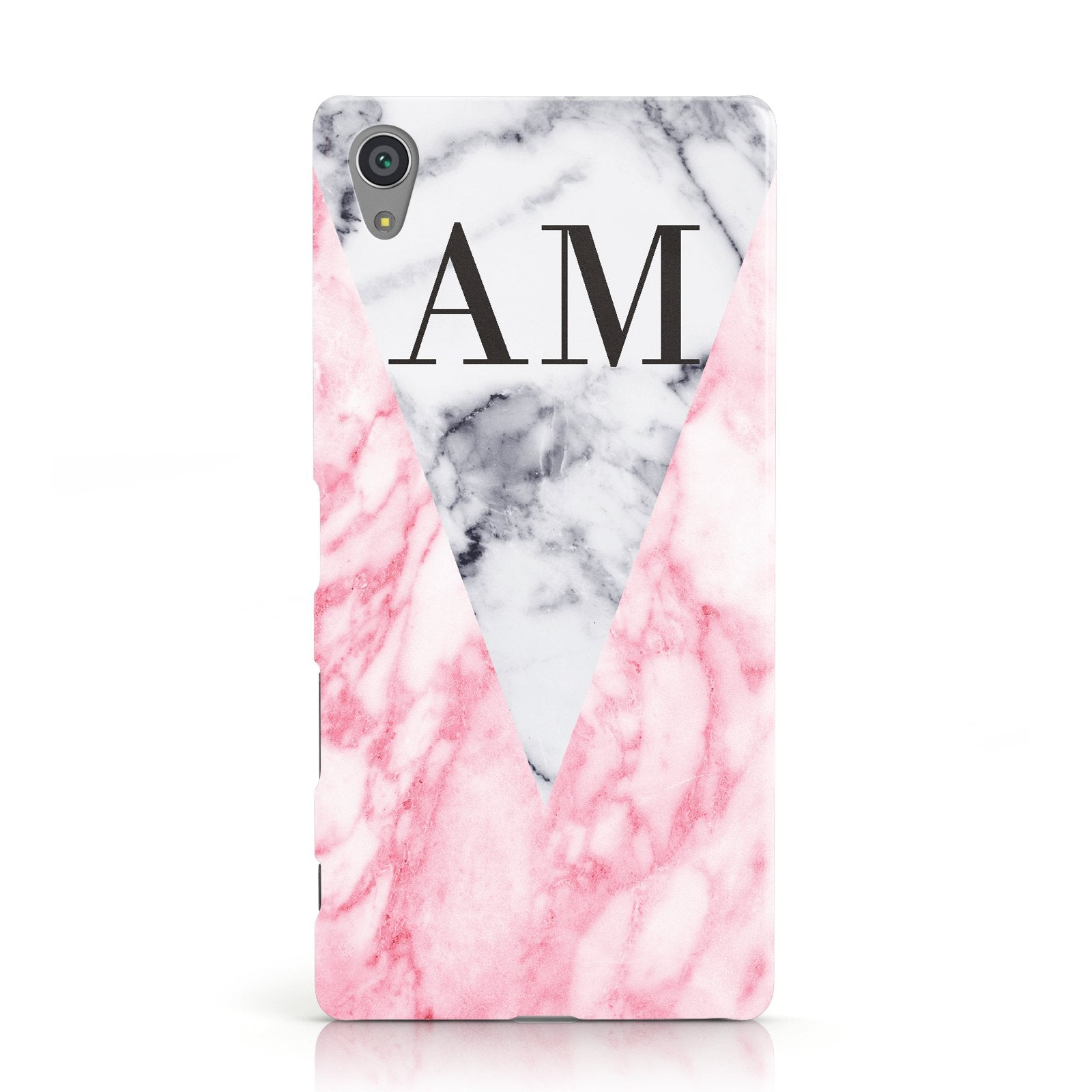Personalised Grey Inset Marble Initials Sony Xperia Case
