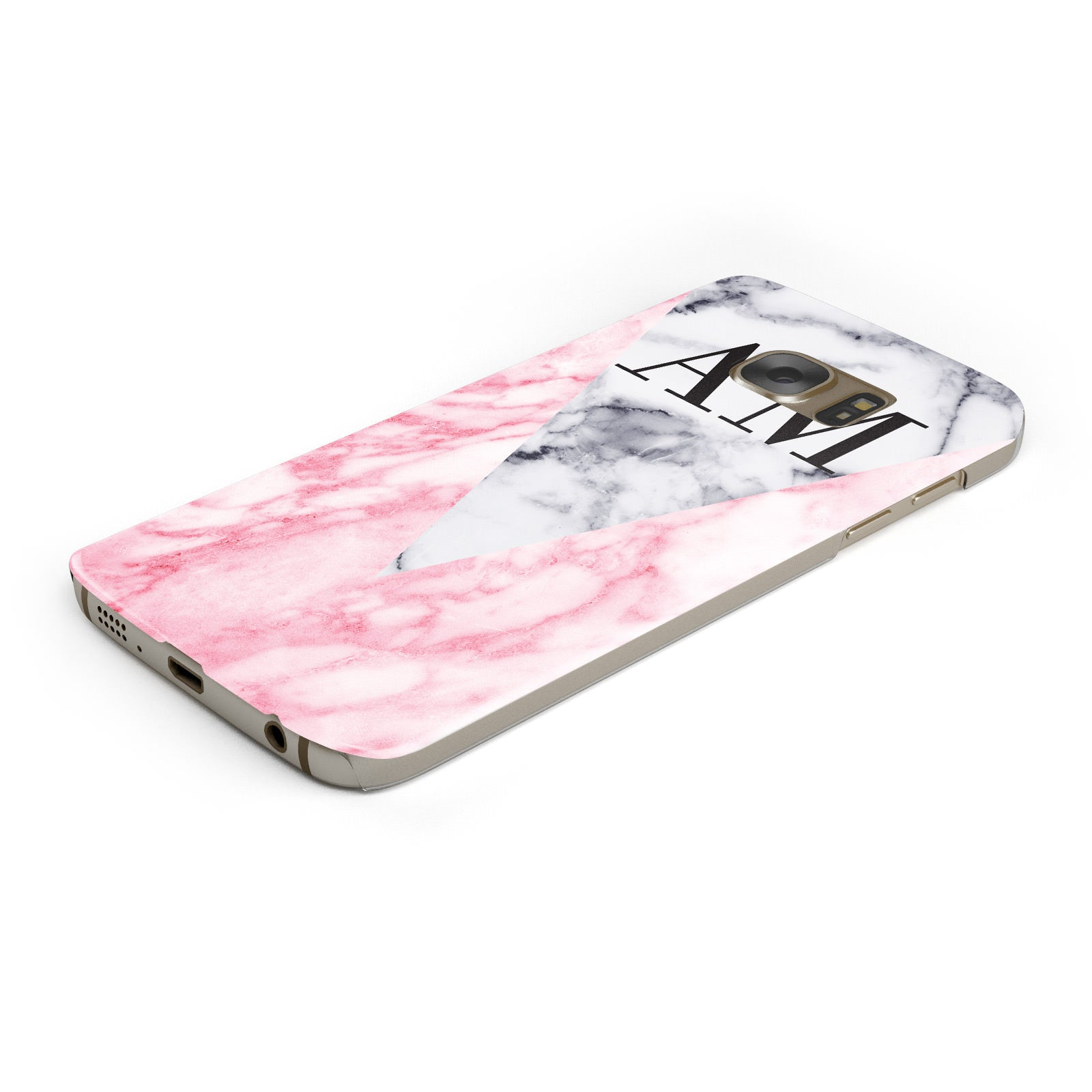Personalised Grey Inset Marble Initials Samsung Galaxy Case Bottom Cutout