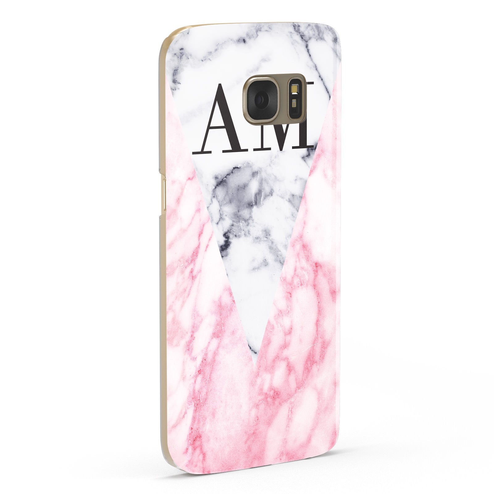 Personalised Grey Inset Marble Initials Samsung Galaxy Case Fourty Five Degrees
