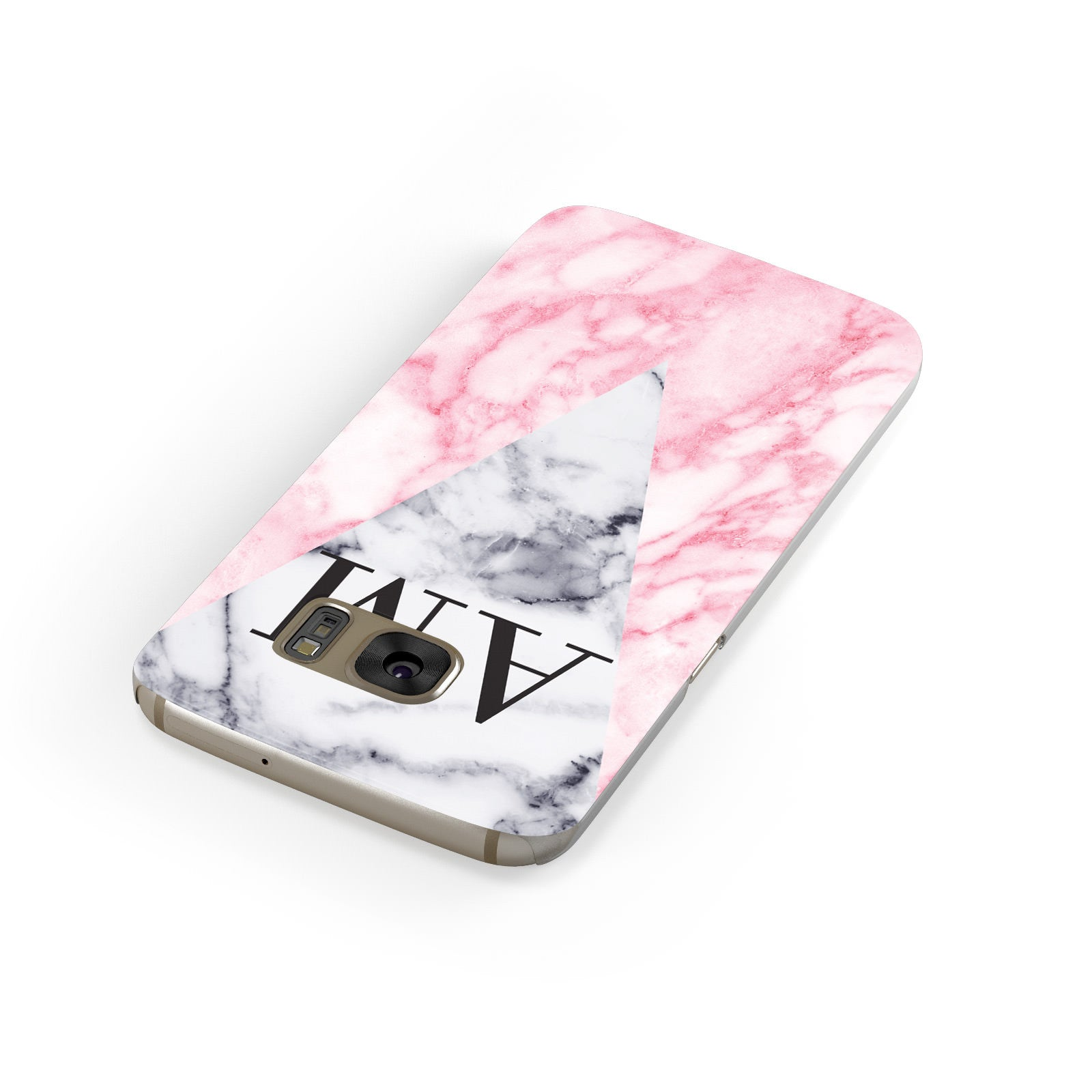 Personalised Grey Inset Marble Initials Samsung Galaxy Case Front Close Up
