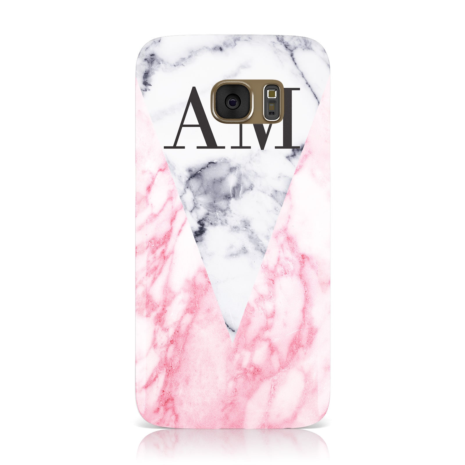 Personalised Grey Inset Marble Initials Samsung Galaxy Case