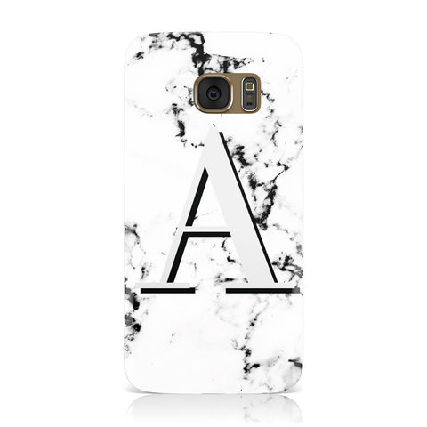 Personalised Grey Large Initial Marble Samsung Galaxy Case