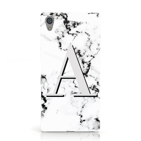 Personalised Grey Large Initial Marble Sony Xperia Case