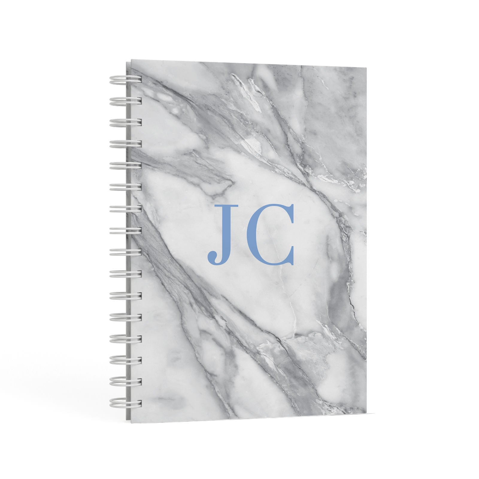 Grey Marble Blue Initials A5 Hardcover Notebook Second Side View