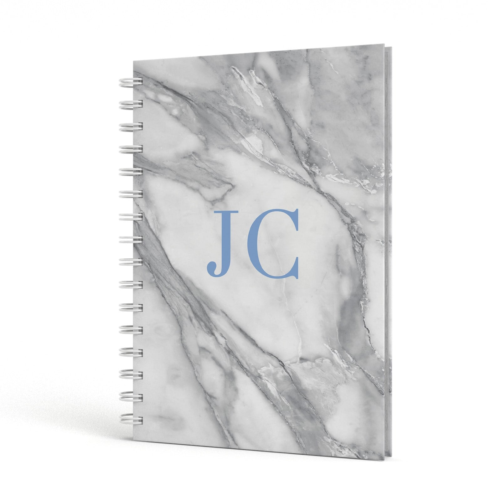 Grey Marble Blue Initials A5 Hardcover Notebook Side View